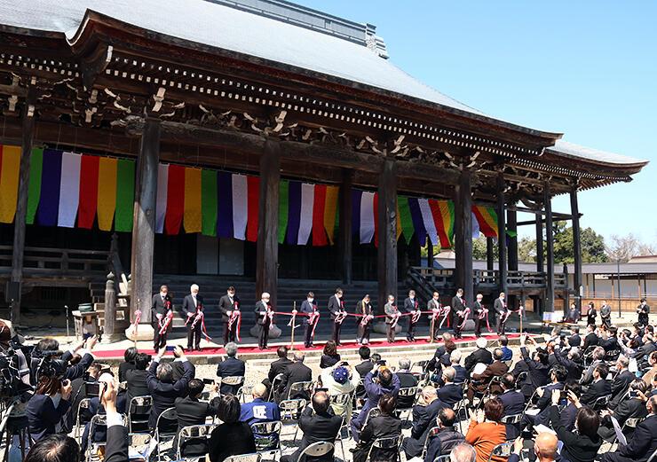 23年にわたる「平成の大修理」の完工を祝った式典=勝興寺