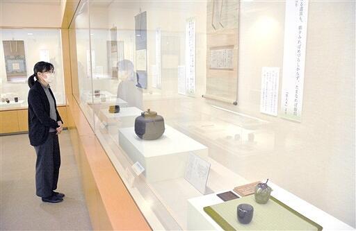 茶人の名言やゆかりの茶道具を紹介する企画展=福井県福井市愛宕坂茶道美術館
