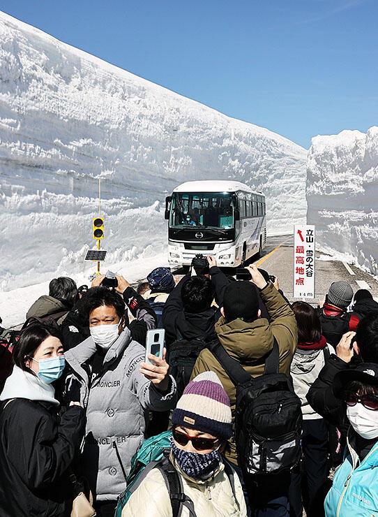 青空の下、そびえる雪の壁を楽しむ観光客=立山・雪の大谷