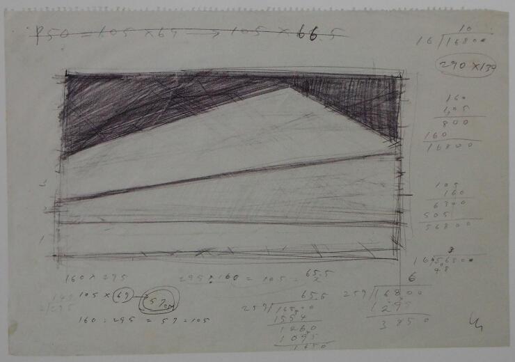 計算式を用い、構図を緻密に検討した「設計図」も展示している
