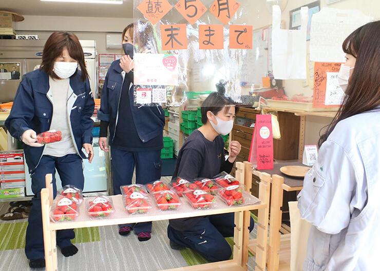 大ぶりのイチゴが並ぶアグリゴールド矢木の直売所