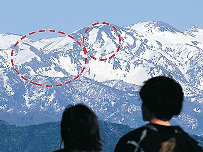 白山眺望広場 白山の山肌浮かぶ「雪形」