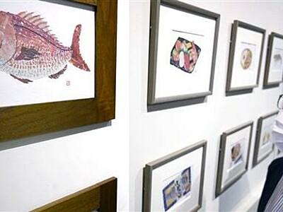 92歳の新聞ちぎり絵 画集の原画展 福井で展示