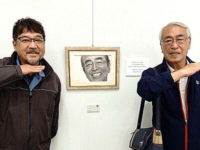 """""""アイーン""""に来たよ 故志村さんの兄 富山の鉛筆画展訪れる"""