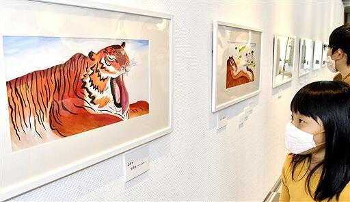 元動物園飼育係の視点と豊かな表現力で描かれた動物の原画が並ぶ「あべ弘士展」=5月1日、福井県若狭町パレア若狭