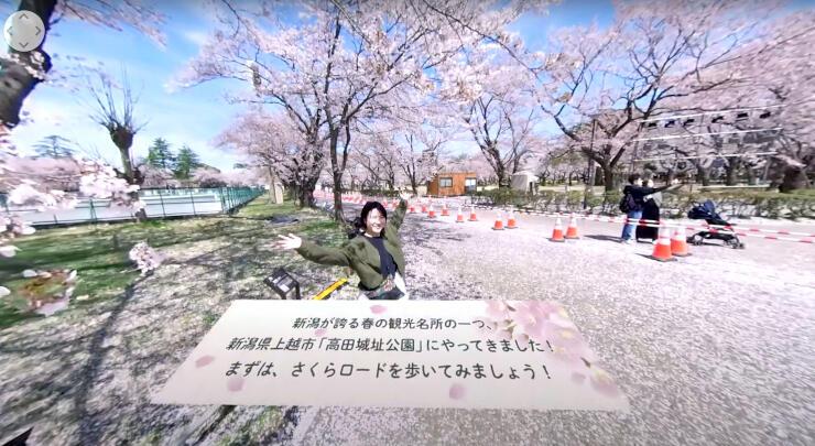 ユーチューブで公開されている高田城址公園のVR動画(リプロネクスト提供)
