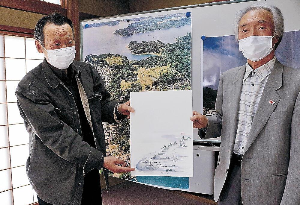 新中居八景のポスター図案を示す創造会議の竹野会長(右)=穴水町住吉公民館