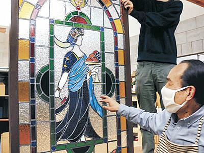 香林坊の大正モダン輝き再び 洋食店「仙宝閣」のステンドグラス 100年前、県内最初期の作