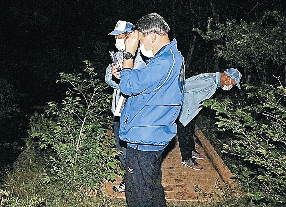 ホタルを観察する会員=小松市のこまつの杜