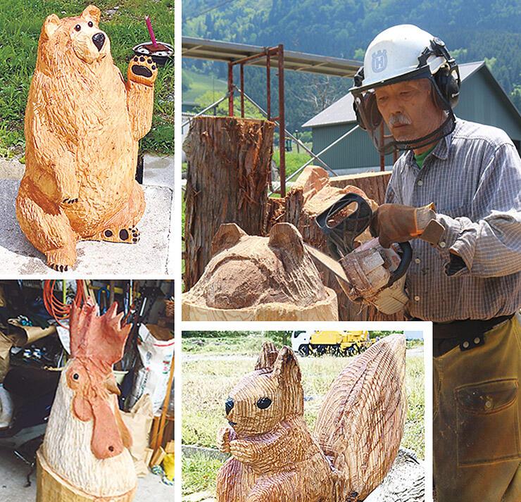 チェーンソーで穴から顔をのぞかせるクマを彫る山中さん(右上)