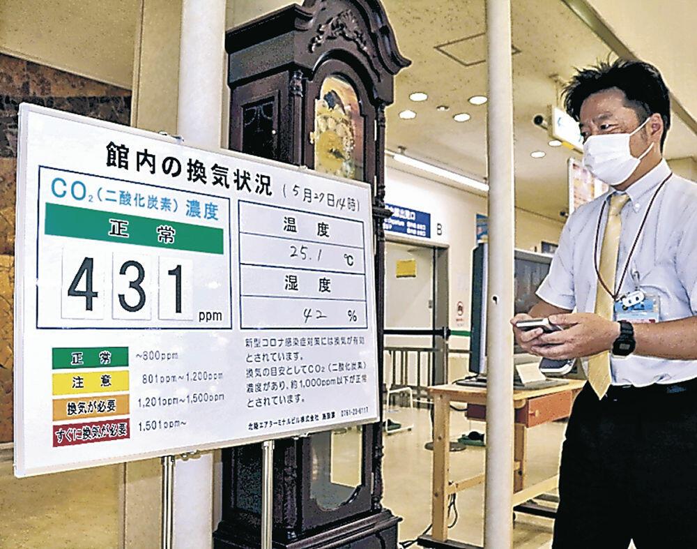 空港ビルに設置されたCO2濃度表示板=小松空港