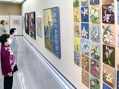 坂井市で「紫陽花会」展 多彩な表現、日本画115点