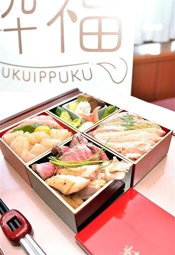 6月1日から、くずし割烹ぼんたで販売が始まった「粋福ごはん」=5月31日、福井県福井市役所