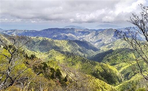 美しい山並みと、小浜湾や若狭湾が遠望できる頭巾山山頂からの眺望