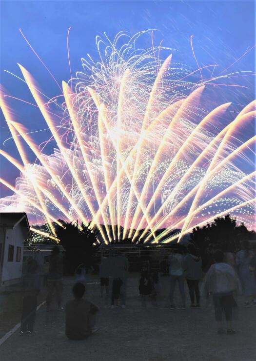 子どもたちから歓声が上がった花火=5日午後7時18分、松本市島内の松本児童園