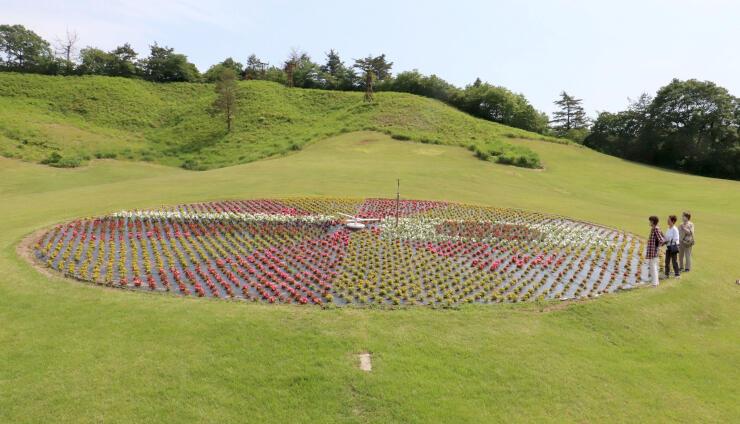 東京五輪に向けて日本とロシアの国旗を表現した花時計=7日、加茂市長谷