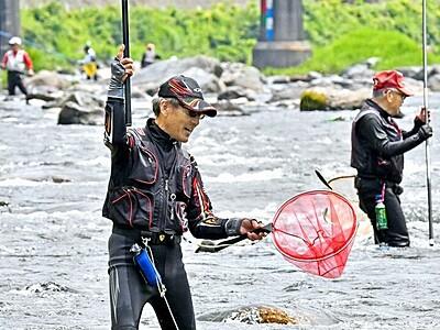 アユ釣り解禁、待ちわびた太公望が銀鱗追う 福井県の足羽川と九頭竜川中下流域