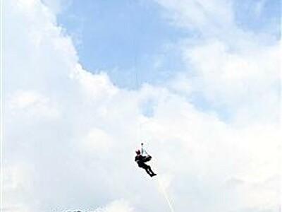 夏山シーズン控えヘリ救助訓練 福井県警が手順確認など