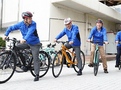 起伏多い岡谷、eバイクで楽々! 7月1日レンタル開始