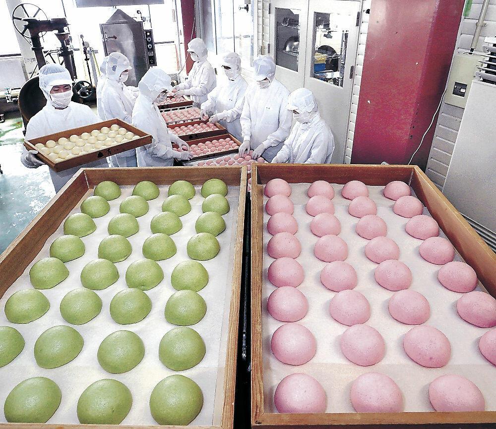ふっくらと蒸し上がった氷室まんじゅう=金沢市専光寺町の和菓子店工場