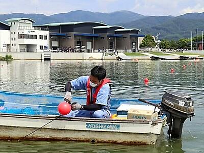 全日本中学選手権競漕大会 下諏訪開催を前にブイ新しく