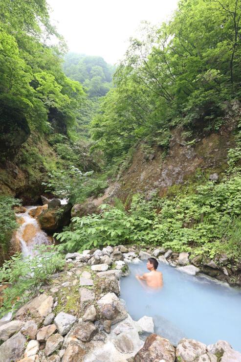 木々に囲まれた燕温泉の秘湯「河原の湯」=28日、妙高市