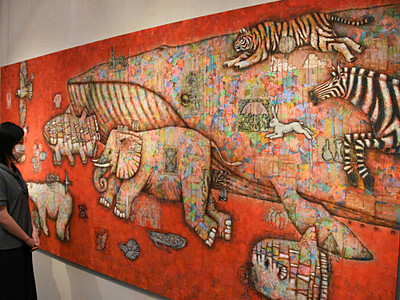 動物描いた20年の軌跡 作家の金丸悠児さん、小布施で企画展