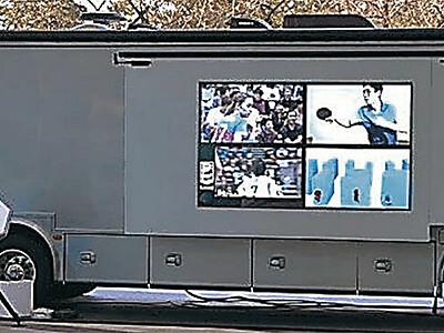金沢マラソン、レース終盤にモニターから激励 コース上に動画放映バス
