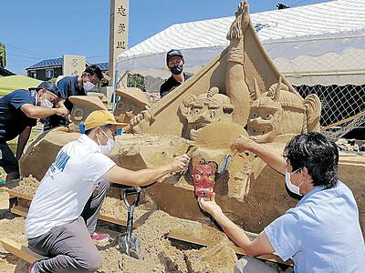 悪魔払いを砂像に 金沢・金石町壮年会制作 大野湊神社夏季大祭縮小で