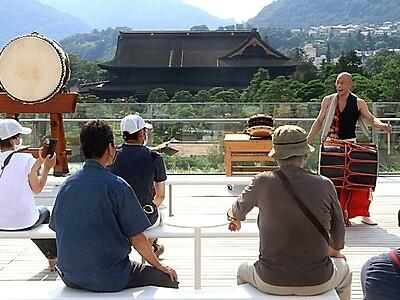 風テラスに和太鼓の響き 長野の県立美術館で演奏会