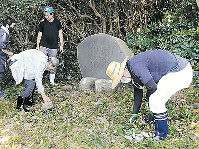 家持ゆかりの地を美しく 名勝・机島を観光資源に 中島・瀬嵐住民が歌碑周辺整備