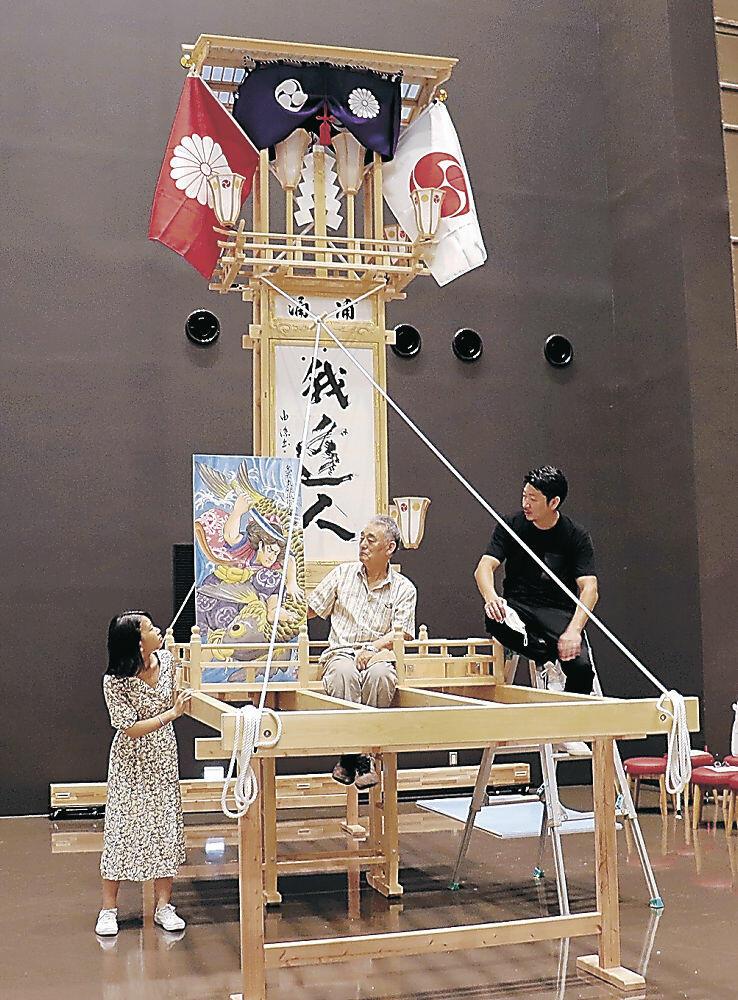 完成したミニ奉燈=七尾市の和倉温泉お祭り会館