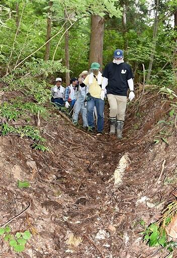 馬車が通ったとみられる山道などを利用した新たな登山ルート=7月27日、福井県永平寺町の城山
