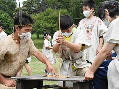 東京パラ採火、信州でもスタート 富士見では「縄文人」の衣装で