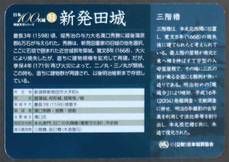 カードの裏には城の沿革や三階櫓などが説明されている
