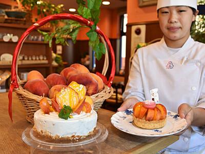 地元の希少「蟠桃」でケーキ 飯田の菓子店、果実ふんだんに