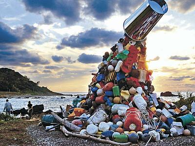 珠洲全域、アート空間 4日開幕・奥能登芸術祭 海岸に漂着ごみで作品
