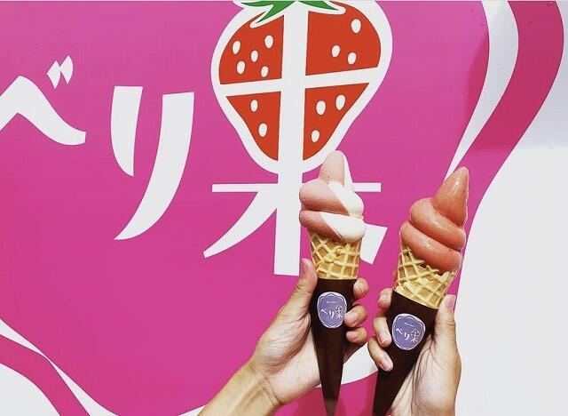 いちごアイス専門店『べり果』のソフトクリーム=福井県勝山市の道の駅『恐竜渓谷かつやま』