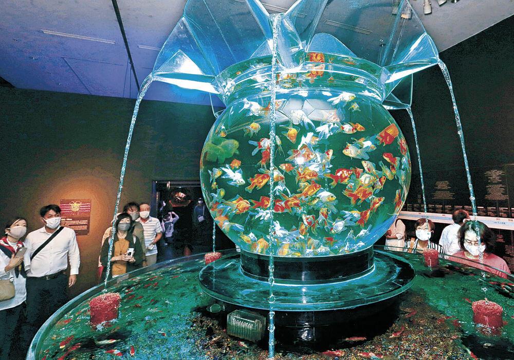巨大金魚鉢に見入る来場者=金沢21世紀美術館