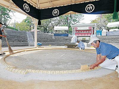 55校の熱闘待つ 土俵完成、10日高校相撲金沢大会