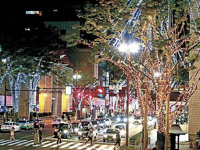 夜の街に冬の光 イルミネーション、金沢・香林坊で試験点灯